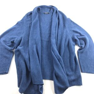 Nic + Zoe Open Front Cardigan 2X Blue Cotton Blend